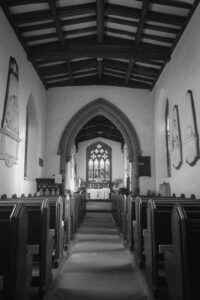 Nave and chancel featuring the Reresby mounments at St. Leonard's, Thrybergh